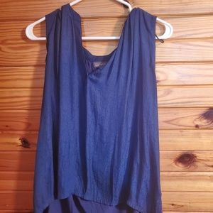 women L blue sleeveless top, design to material